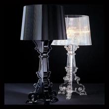 Kartell Bourgie akrylowa lampa stołowa minimalistyczna lampa stołowa art deco obok czarnej lampy stołowej E27 ue wtyczka podstawka na stół tanie tanio Queen Lifedecor ROHS CN (pochodzenie) Foyer Black Dół acrylic table lamp 110 v 220 v 90-260 v Dotykowy włącznik wyłącznik