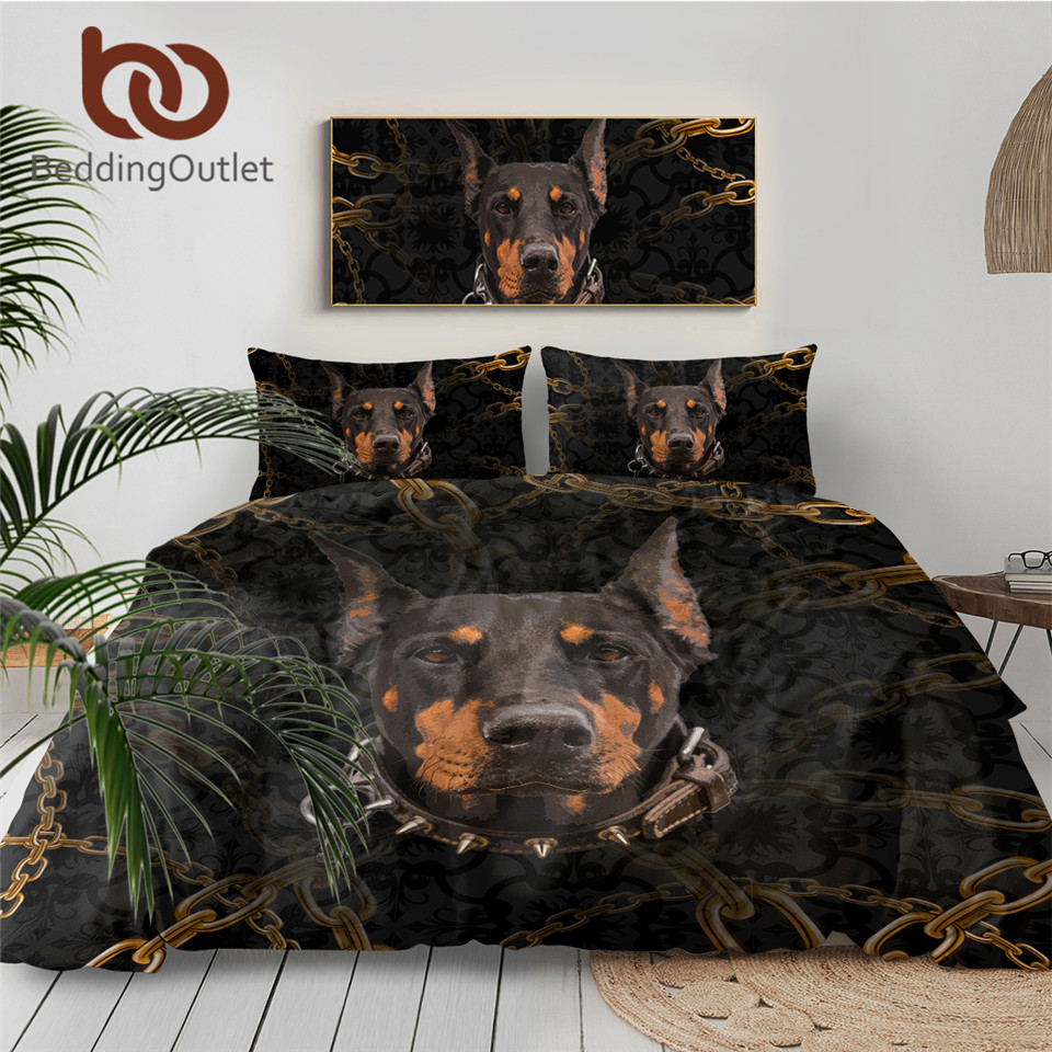 BeddingOutlet Doberman Bedding Set Chain 3D Printed Kids Boys Duvet Cover Dog Black Bed Set Animal Bedclothes 3pcs Home Textiles 1
