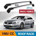 2 шт.  бруски на крышу для Volvo - V60 155  157 225 2010-today  боковые бруски из алюминиевого сплава с перекрещивающимися рейками для багажа