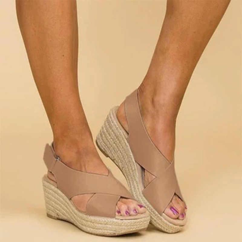 Kadınlar için Platform sandaletler yaz bayanlar takozlar kenevir kadın rahat ayak bileği toka ayakkabı 2020 kadın rahat ayakkabı artı boyutu
