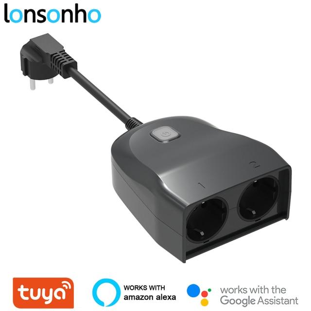 Lonsonho Tuya Wifi חכם שקע האיחוד האירופי Plug חיצוני עמיד למים IP44 2 חנויות אלחוטי שלט רחוק עובד עם Alexa Google בית
