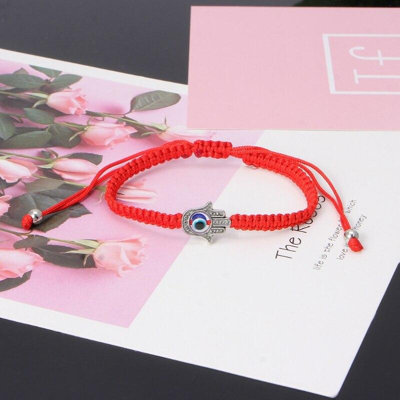 Lucky Kabbalah Red String Thread Hamsa Bracelets Blue Turkish Evil Eye Charm Women Handmade Fatima Friendship Jewelry 7