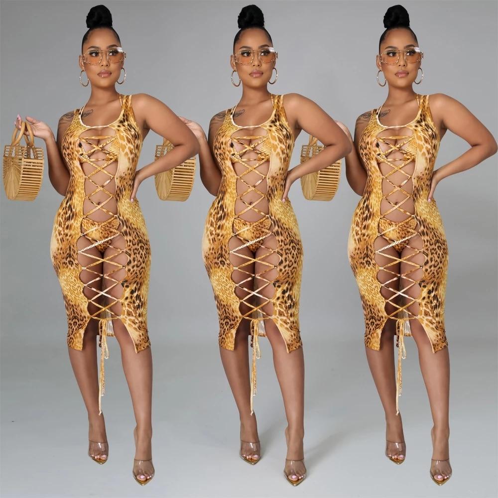 2021 Fashion Bikini Set And Matching Cover Dress Womens Sleeveless Hollow Out Laced Beach Dress 3 Pieces Outfits Beachwear S-XL 15