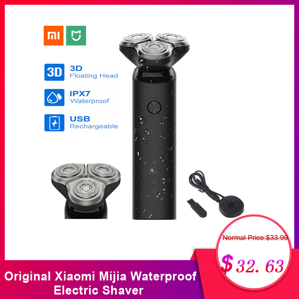 Original Xiaomi Mijia Waterproof Electric Shaver 3 Head Flex Dry Wet Shaving Washable Main Sub Dual Blade Turbo Mode Comfy Clean-in Electric Shavers from Home Appliances