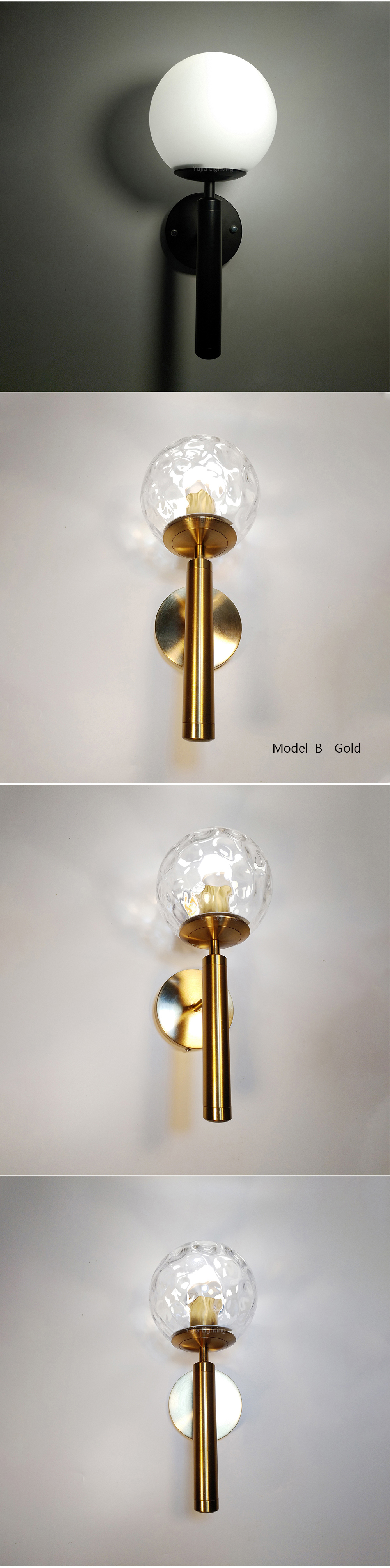 bola vidro wandlamp up down espelho do