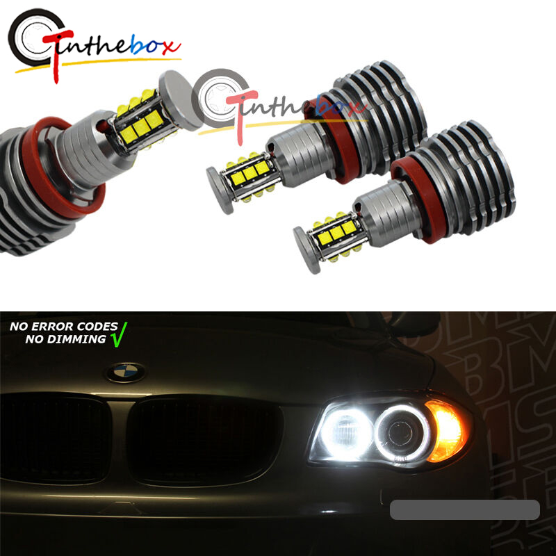 GTinthebox 2PCS White H8 LED Angel Eye Ring Marker Light Bulbs For BMW 1 3 5 X Series 120W image