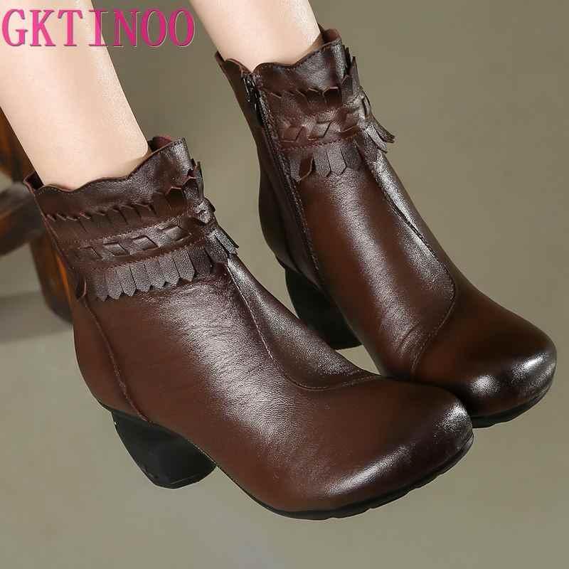 Gktinoo Mùa Đông Boot Giày Bốt Nữ Da Chính Hãng Kiểu Dáng Giày Cao Gót Giày Mũi Tròn Thời Trang Nữ Mắt Cá Chân Giày Cho Nữ