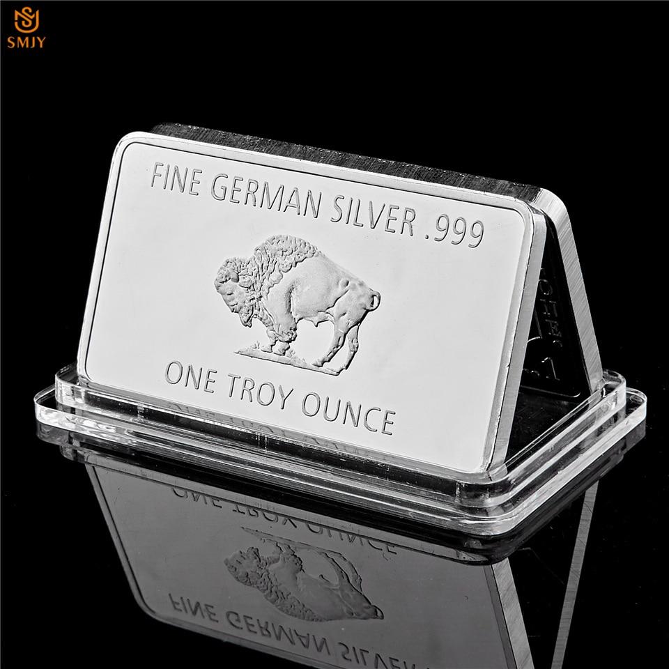 Multa alemanha prata hortelã 1 troy onça búfalo euro prata barra de bullion réplica moedas coleção