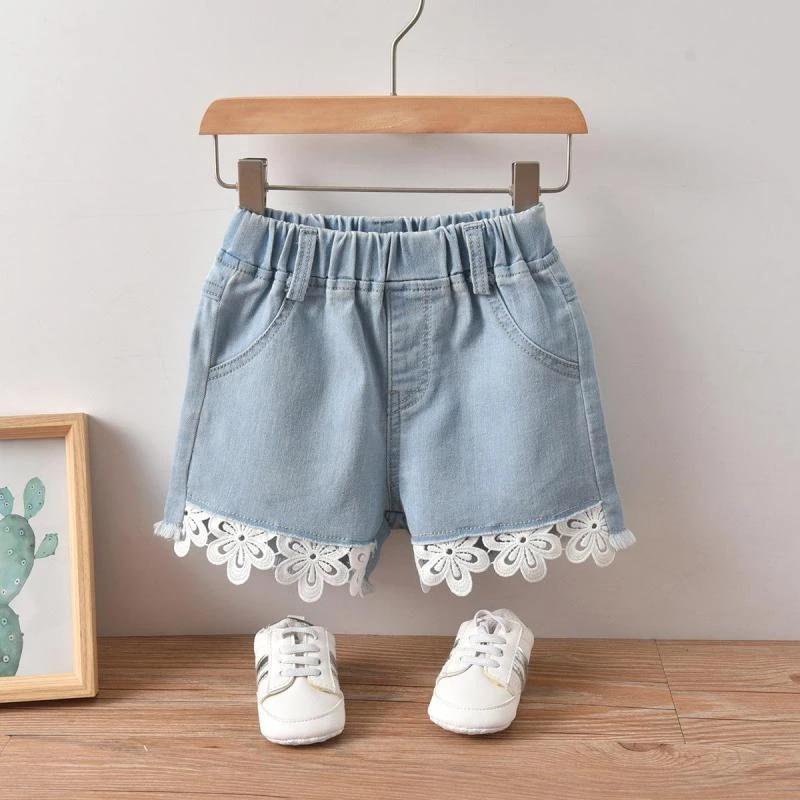 Girls Denim Shorts Kids Clothes Fashion Korean Style Lace Jeans 2021 Summer New Thin Soft Cotton Shorts 2-6y Children