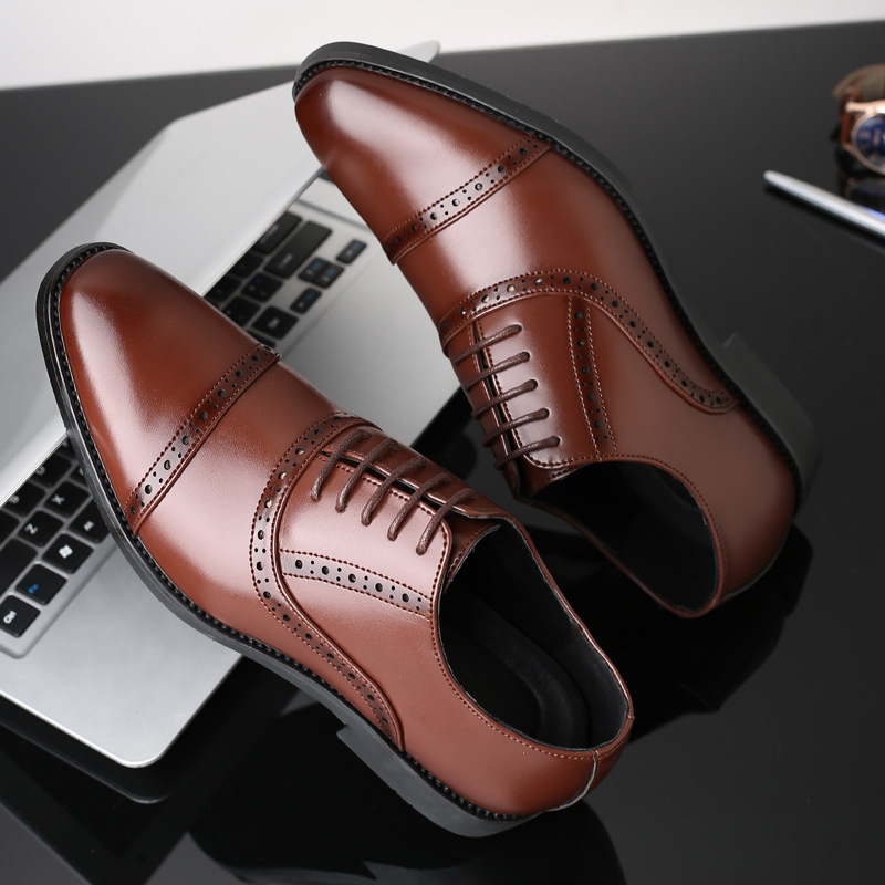 Brand Men Leather Formal Business Shoes Male Office Work Flat Shoes Oxford Breathable Party Wedding Anniversary Shoes