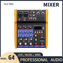 Wireless 4-channel Audio Mixer Portable Sound Mixing Console USB Interface MP3 Computer Input 48V Phantom Power Monitor for Home
