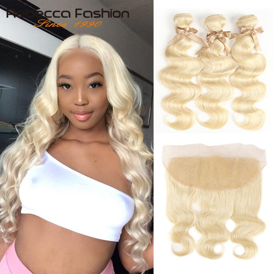 Rebecca 613 loira pacotes com frontal peruano onda do corpo 3 pacotes remy loira cabelo humano rendas frontal encerramento com pacote