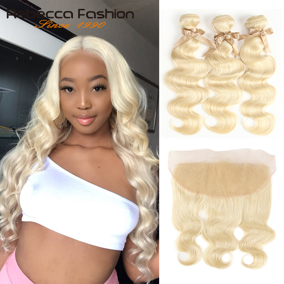 Rebecca 613 Blonde Bundles With Frontal Peruvian Body Wave 3 Bundles Remy Blonde Human Hair Lace Frontal Closure With Bundle image