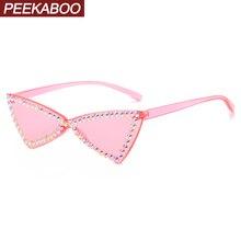 Peekaboo rhinestones women rimless sunglasses cat eye luxury