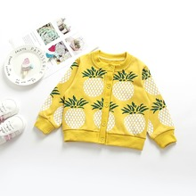 1-5 Years Knit Baby Sweater Kids Cardigan Coat Girl Winter Clothes Boy Pineapple 100% Cotton Outerwear Cloth