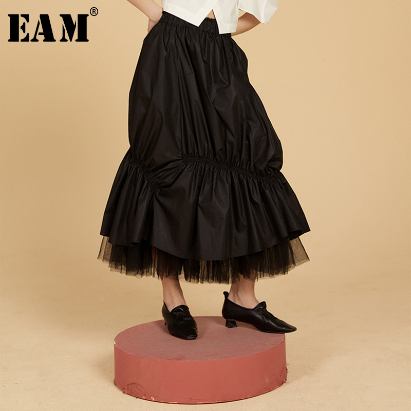 [EAM] High Elastic Waist Black Pleated Mesh Split Temperament Half-body Skirt Women Fashion Tide New Spring Autumn 2020 1S985