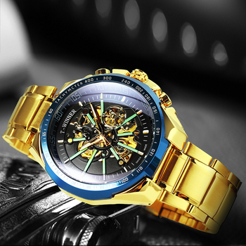 Mechanical Gold Watch Men Big Case Luxury Fashion Skeleton Luminous Military Business Blue Waterproof