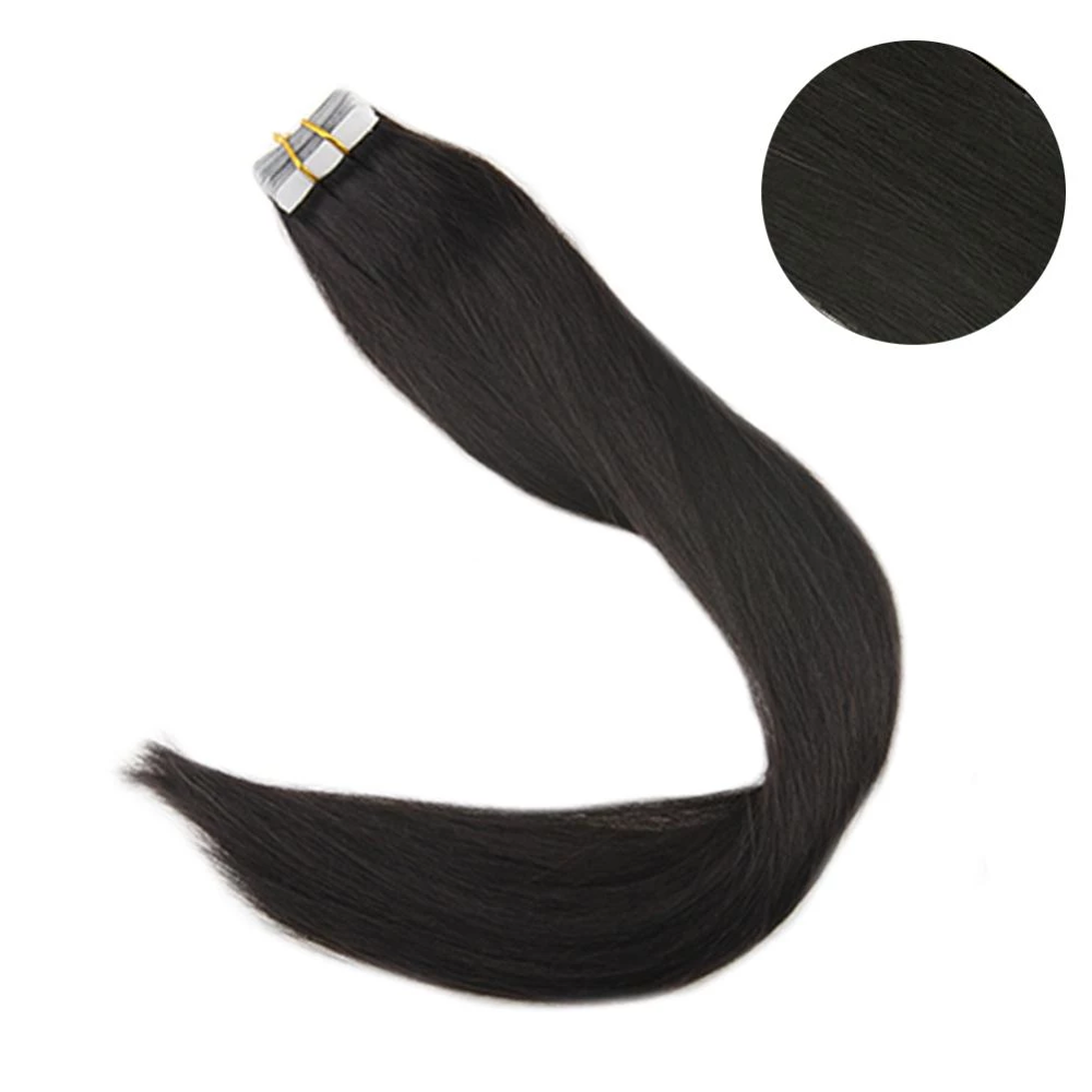 Full Shine Solid Color Tape In Hair Extensions 100% Human Hair 100g 40Pcs Tape On Hair Skin Weft Machine Made Remy Extensions