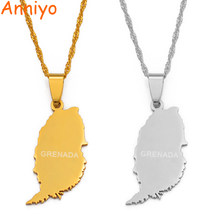 Anniyo Grenada Island Map Pendant Thin Chain Necklaces for Women Girls Silver/Gold Color Windward Islands Jewelry #119321(China)