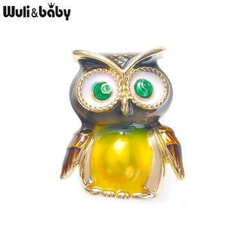 Wuli&baby Cute Enamel Owl Brooches Women Men Classic Bird Office Party Causal Brooch Pins Gifts