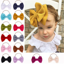 Cute Toddler Baby Girls Big Bow Hairbands Kids Headbands Infant Little Baby Party Head Accessories Cute Stretch Knot Headwear(China)