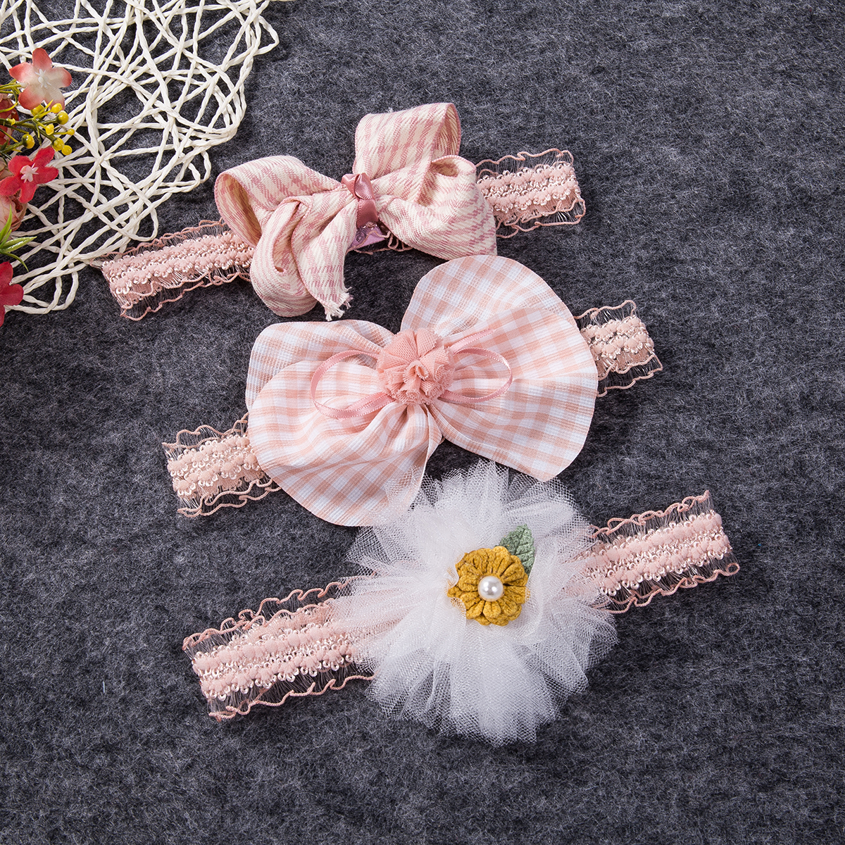 3pcs Newborn Headband Ribbon Elastic Baby Headdress Kids Hair Band Girls Bow US