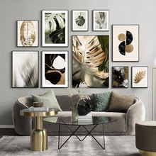 Modern Abstract Leaves Plant Painting Wall Art Canvas Poster and Print Black Gold Graphics Picture Living Room Home Decoration