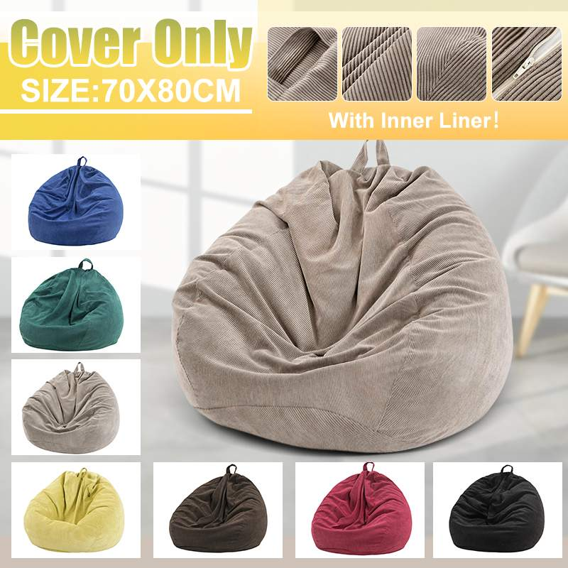 Lazy Sofas Cover Chairs Cover With Inner Liner Warm Corduroy Lounger Seat Bean Bag Pouf Puff Couch Tatami Living Room 70x80cm