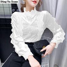 Женская кружевная ажурная рубашка элегантная велюровая офисная
