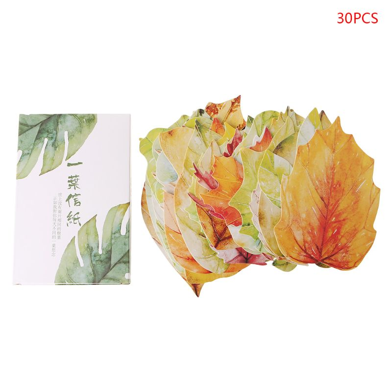 30 Sheets Lovely Leaf Postcard Letter Birthday Gift Card Wish Message Poster Cards
