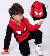 2pcs Winter Spider-Man Hoodie Cosplay Costume Thickening Cotton Sweater Childrens Hooded Pullover SpiderMan Zipper Coat