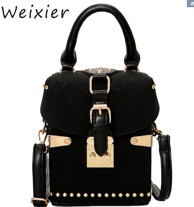 WEIXIER droopshipping 2019 New wave fashion atmosphere box package square bag Korean version of the wild Messenger bag LQ-45