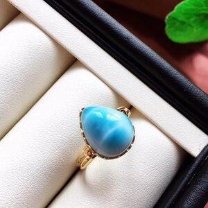 Image 3 - Anel ajustável de cristal do ouro 18k da forma 19x16x13mm aaaaa certificado natural anel de larimar azul para a festa de aniversário da mulher