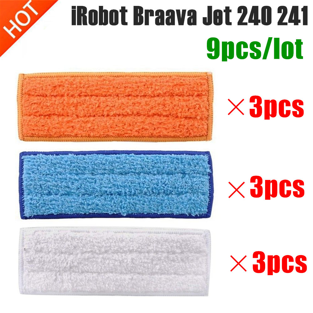 9pcs Washable Mopping Pads Vacuum Cleaner Sweeping Pad Cloth Replacement Parts For IRobot Braava Jet 240 241 Cleaner Robots