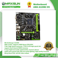 Maxsun completa nova placa-mãe am4 A320M.2-VH challenger amd ddr4 memória slots rams pci-e slot ssd vga mainboard para desktop