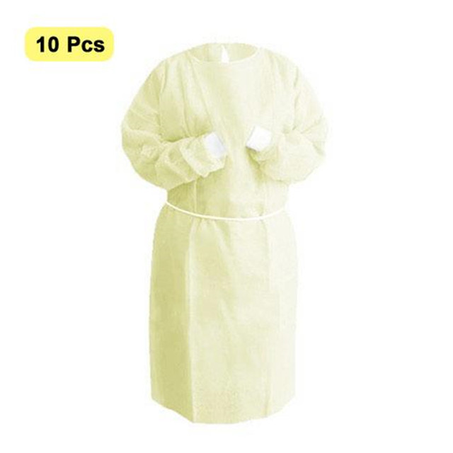 10Pcs Disposable Bandage Coverall Gown Anti Dust Isolation Clothes Labour Suit Nonwoven Protection Safety Clothing Hat PPE Kit 3