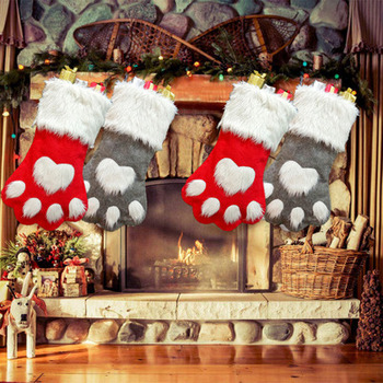 Christmas Stocking Gift Bag Dog Cat Snowman Elk Santa Claus Children Candy Apple Stockings Pendant Bolsas Para Dulces De Navidad image