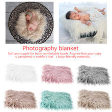 Newborn Faux Fur Wrap Baby Photography Props Blanket Newborn basket filler stuffer Photo Shoot baby fotografia Accessories 80x50(China)