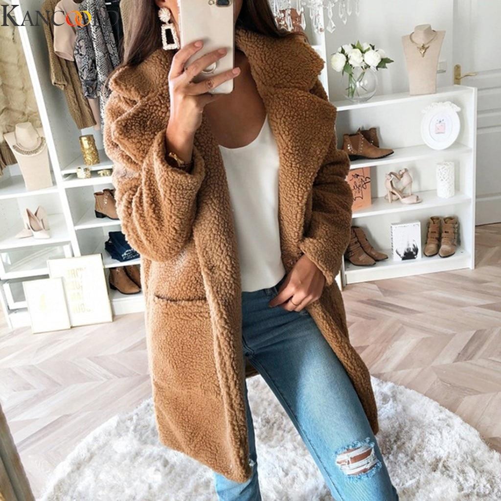 KANCOOLD Women Fleece Coat Parka Plus Size New Fashion Winter Warm Coat Long Sleeve Zip Thickening Plush Vintage Print Jacket
