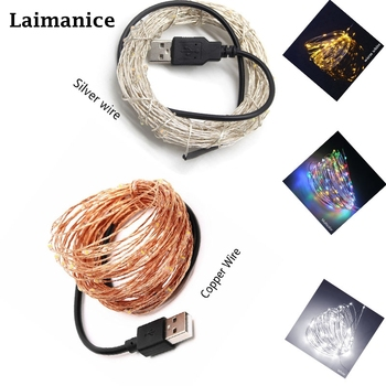 2M 5M 10M Copper Silver Wire USB LED String lights Waterproof Holiday lighting For Fairy Christmas Wedding Party Decoration