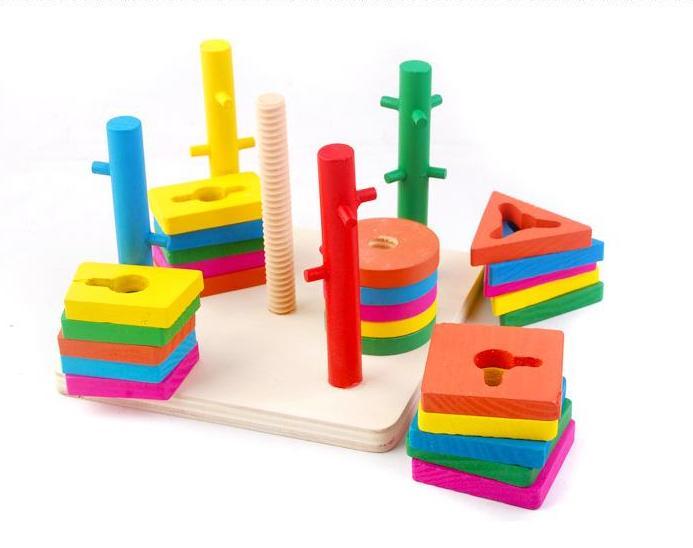 Gratis pengiriman Lima kolom intelijen sesuai blok, latihan tangan otak bayi, bentuk warna, mainan pendidikan anak-anak kayu