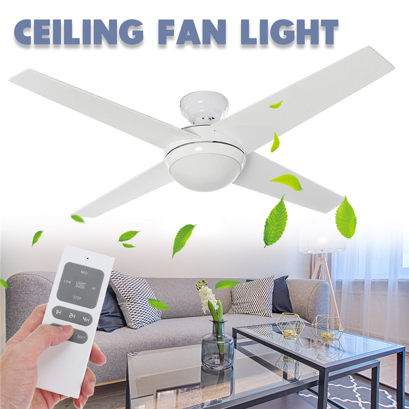LED Wooden Ceiling Fans 60W 4 Blades 52