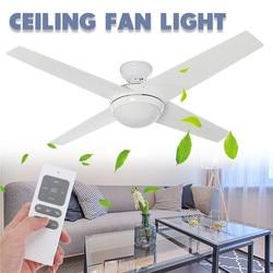 LED Wooden Ceiling Fans 60W 4 Blades 52 E14 Ceiling Fan Lights Lamp Timer Remote Control for Bedroom Living room