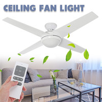 LED Wooden Ceiling Fans 60W 4 Blades 52 E14 Ceiling Fan Lights Lamp Timer Remote Control for Bedroom Living room
