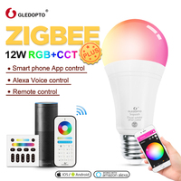 Gledopto White and Color E27 12W LED smart bulb 2 Pack,Zigbee compatible 3.0 gateway ,voice activated with Alexa, 6 zone remote