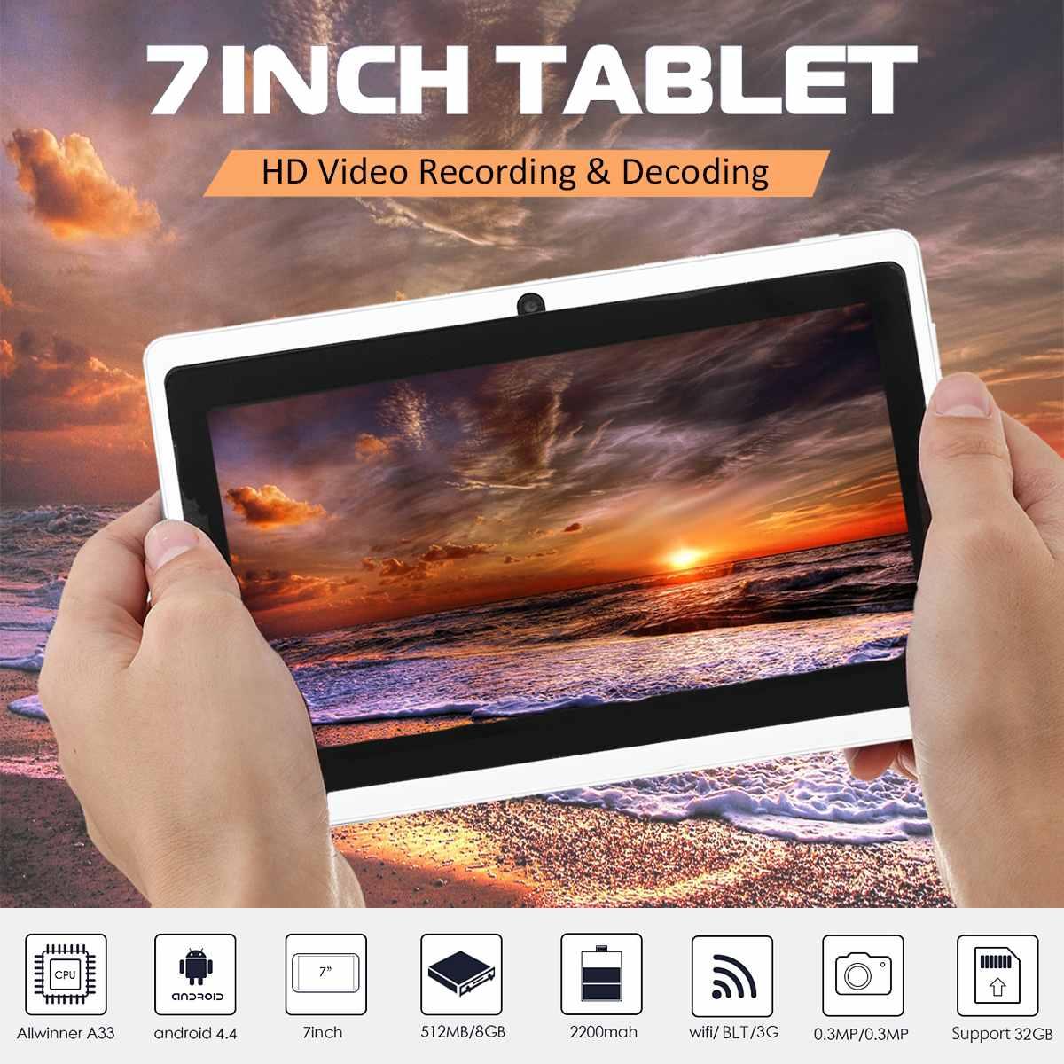 7 pouces HD WIFI 800x480 tablettes numériques PC Quad-core Android 4.4 double caméra tablettes sans fil bluetooth photographie apprentissage tablette