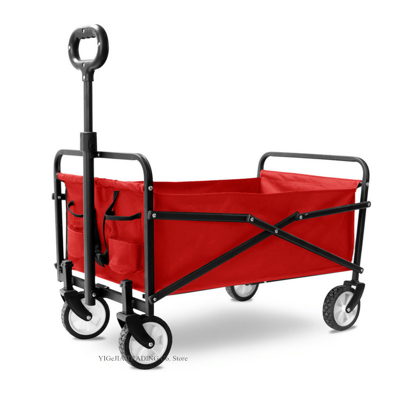 New Design Four-wheel Portable Shopping Cart, Collapsible Folding Outdoor Utility Wagon, Household Trolley with Heavy duty Steel image