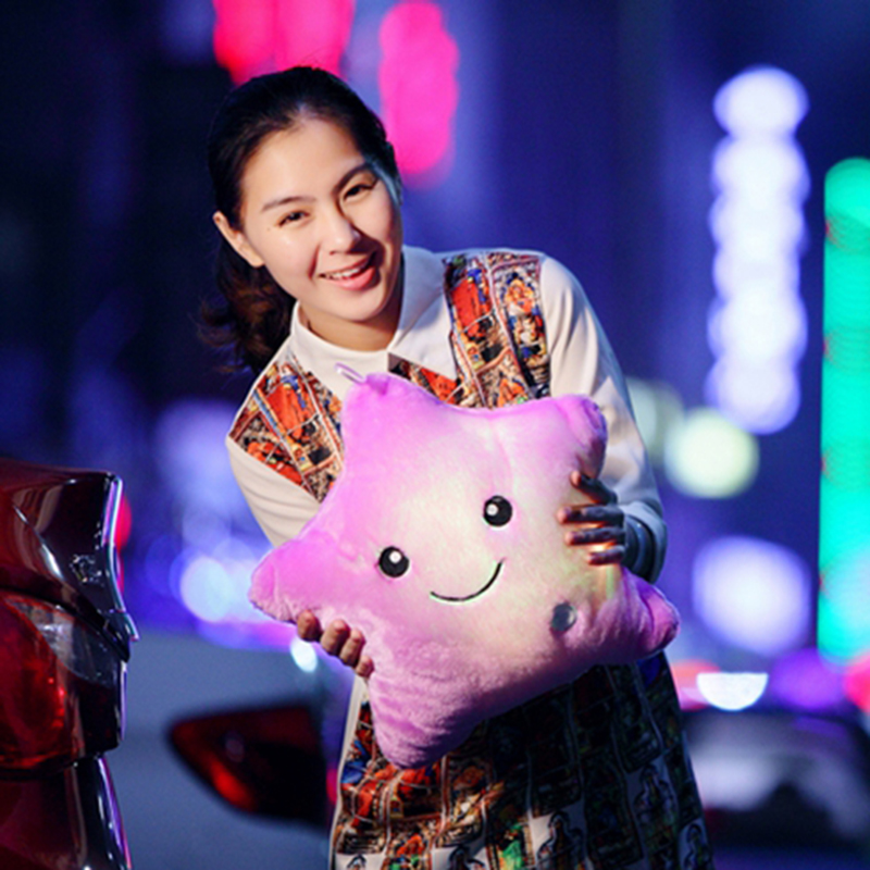 Creative Luminous Pillow Stars Stuffed Plush Toy Glowing Led Light Colorful Cushion Birthday Gifts Toys For Kids Children Girls Just6F
