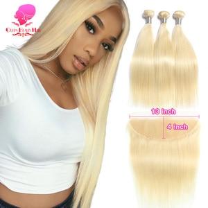 Image 1 - KÖNIGIN SCHÖNHEIT 613 Blonde Gerade Brasilianische Haarwebart Menschliches Haar Bundles mit Verschluss 3PC Remy Haar und 1PC spitze Frontal Schließung