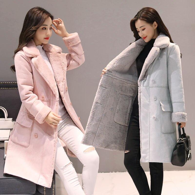 2020 New Winter Women Suede Fur Jacket Fashion Female Zipper Thick Artificial Sheepskin Long Coat Warm Windbreaker Outwear Q01
